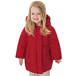Little Youngster, Hooded Winter Coat for Girls with Hidden Front Zipper (24M)