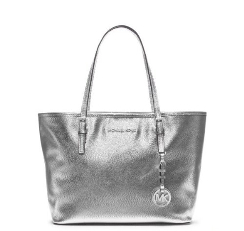 Michael Kors Jet Set Small Travel Tote Silver Leather Shoulder Bag