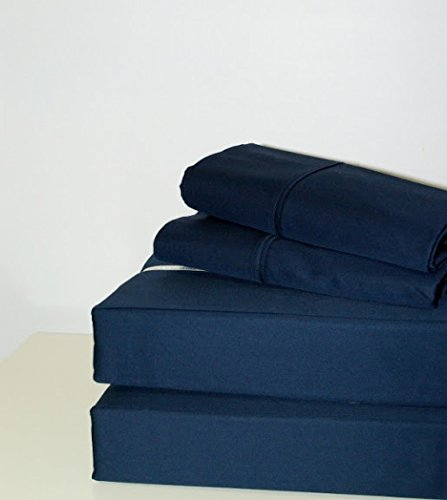 "Srp Linen 500-Thread-Count Super Soft Extra Deep Pocket Sheet Set California King/ Western King Solid Navy Blue Fit Up To 24"" Inches Deep Pocket With Stain And Wrinkle Resistant front-1024345"
