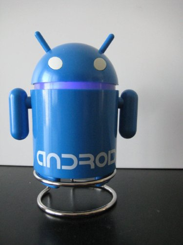 Android Robot Style Usb Rechargeable Fm/Mp3 Player W/ Stereo Speaker, Micro Sd & Tf Card Input, 3.5Mm Headphone; Color : Blue