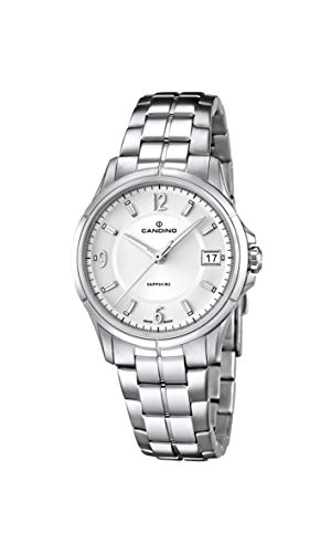 Candino Women's Quartz Watch with White Dial Analogue Display and Silver Stainless Steel Bracelet C4533/1