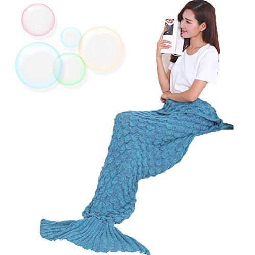 MAGFLY Fish-scale Meerjungfrau Schwanz Decke Handgemachte Gestrickte Nixeendstück Super Soft Cozy Perfekt Geschenk für Erwachsene und Teenager (Blau)