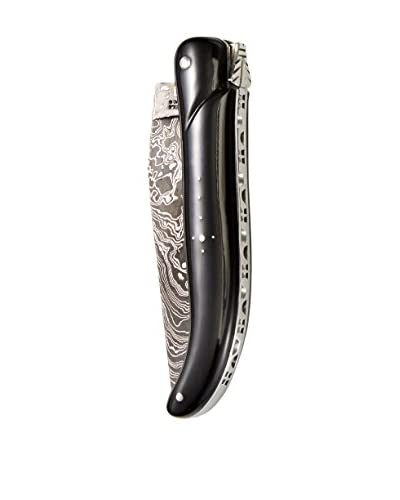 Laguiole en Aubrac Damascus Blade Water Buffalo Hunting Knife, Black