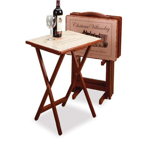Cheap 5 Piece TV Table Set with Stand in Walnut with Wine Label Silk Screen (AZ32-18932)