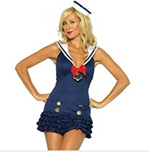 Queen's Park Sexy Navy Blue Sailor Girl Plus Size Halloween Costume Hat, Dress Set Size M by Queen's park