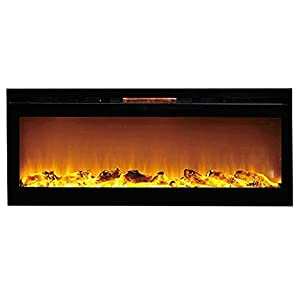 Sydney 50 Inch Log Recessed Wall Mounted Electric Fireplace Home Kitchen