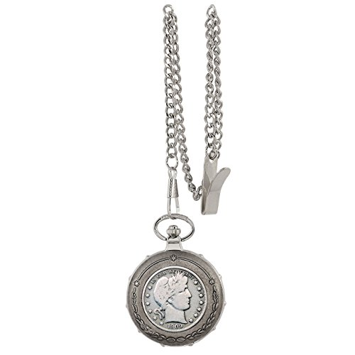Silver Barber Half Dollar Silvertone Train Pocket Watch