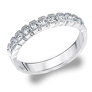 14K White Gold Diamond Box Set Milgrain Ring (.75 cttw, H-I Color, I1-I2 Clarity) Size 4