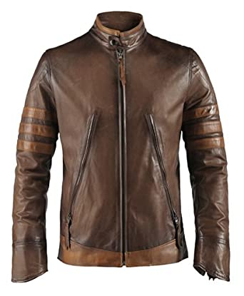 "X-Men Origins Mens Leather Jacket Made in Italy (XS (34""-36""), Antique Brown)"