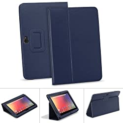 GreatShield TOME Series Flip-Stand Leather Case with Auto Sleep / Wake Feature for Google Nexus 10 inch Tablet (Navy Blue)