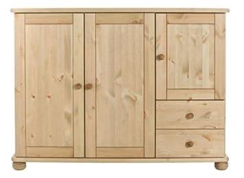 Kommode Highboard Geschirrschrank Wäschekommode Landhaus Kiefer massiv, Farbe:Gebeizt/Geölt