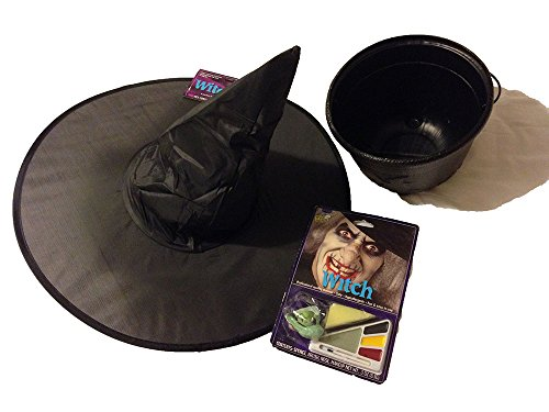 Witch's Costume Accessories - Hat, Nose, Makeup and Kettle / Cauldron
