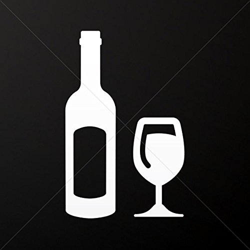 Sticker Bottle And Glass Of Wine Tablet Vehicle Weatherproof Garage ca White (10 X 6.36 In)