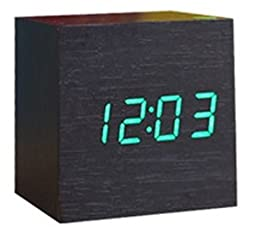Cube Shaped LCD Display Digital Alarm Clock Wooden Comapct Clock Green Number Dark Brown Body