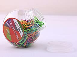 GANSSIA Colorful Metal Paper Clips 200 Pcs Per Box