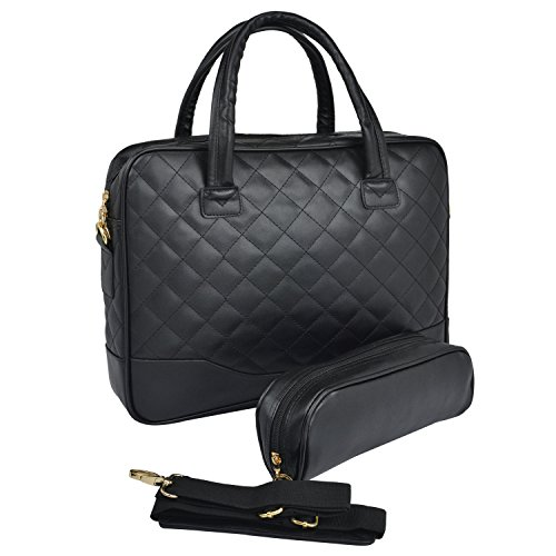 14.1 inch Classic All Black Professional Diamond Quilted Pattern Bubble Foam Padded Laptop Computer Notebook Sleeve Office Tote Briefcase Carry Case Messenger Shoulder Bag image