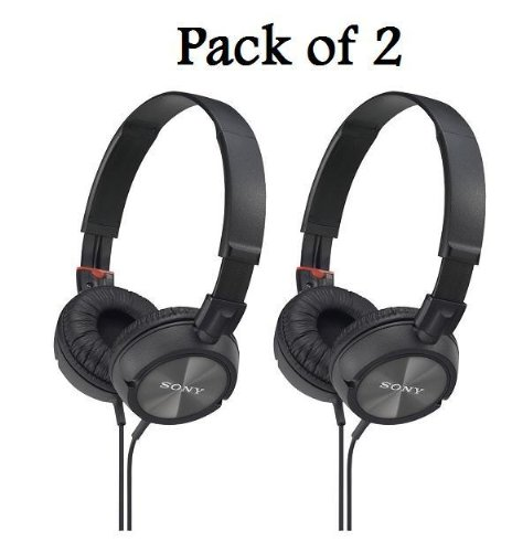 Sony Mdrzx100/Blk Zx Series Stereo Headphones (2 Pack, Black)