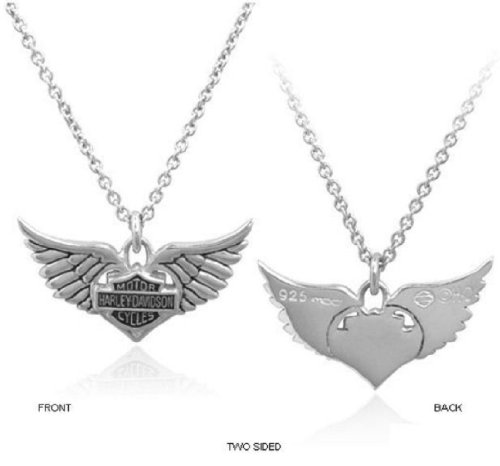 Harley-Davidson® Women's Sterling Silver Bar & Shield Winged Heart 18-Inch Necklace. HDN0213-18