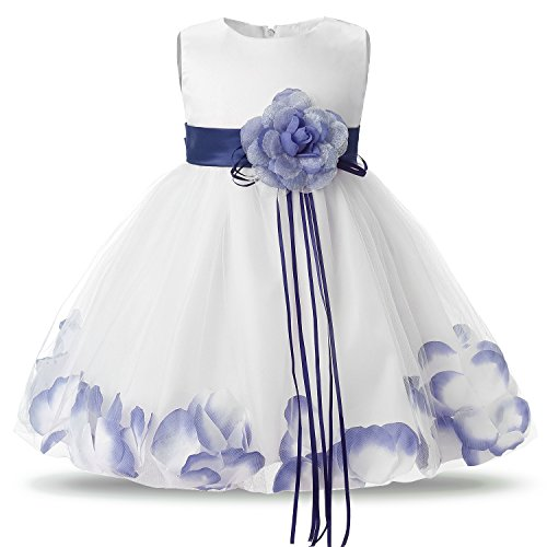 NNJXD Girl Tutu Flower Petals Bow Bridal Dress for Toddler Girl Size 13-18 Months Blue