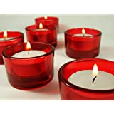 Red Glass Tea Light Candle Holders