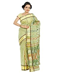 B3Fashion Traditional Handloom Light Green Baluchuri Cotton Saree With Striped Border In Zari And Dark Green