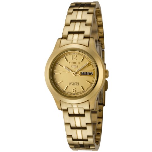 Seiko Women's 5 Automatic SYME02K Gold Gold Tone Automatic Watch with Gold Dial