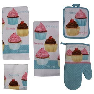 7 Piece Too Cute Cupcake Kitchen Dish Towels Set with Pot Holders and Oven Mitt