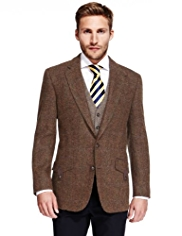 Sartorial Luxury Pure New Wool Harris Tweed Checked Jacket