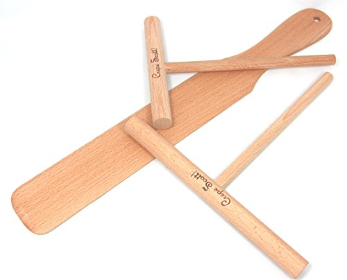 Crepe Making Tool Kit. Crepe or Pancake Batter Spreaders and Spatula Made of Beechwood. 3 Piece Set Includes 5 and 7 Inch Spreaders plus 14 Inch Turner.