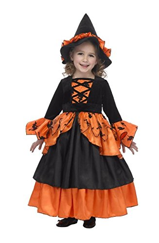 Just Pretend Kids Pumpkin Witch Fairy Costume with Hoop and Hat, Large