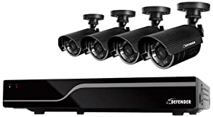 DEFENDER 21026 SENTINEL 4-Channel Smart Security DVR with 4 Hi-Resolution Outdoor Security Cameras