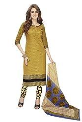 RK Fashion Womens Cotton Un-Stitched Salwar Suit Dupatta Material ( SANDHYA-PAYAL-2029-Yellow-Free Size )