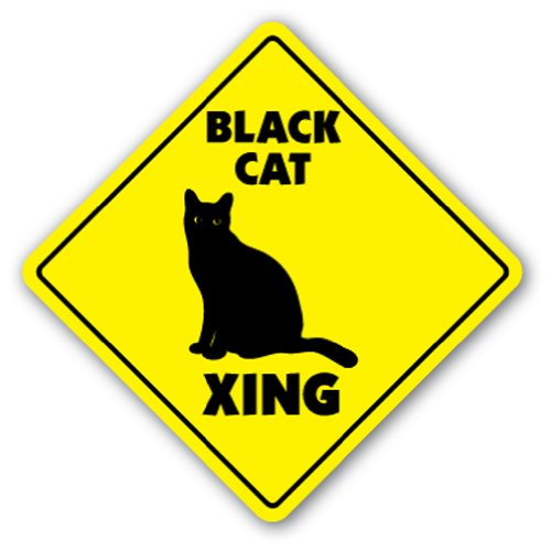 Black Cat Crossing Road Sign