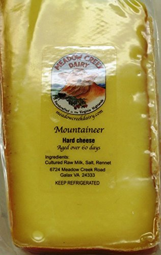 Organic Cheddar Cheese - Artisan Handmade Dry Cured Aged Gourmet Meadow Creek Mountaineer Medium Cheese - One of a Kind in Limited Quantities from Virginia (about 1 pound Block) (Organic Cheese Block compare prices)