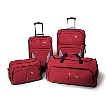 American Tourister Fieldbrook 4 Piece Luggage Set, Red, One size