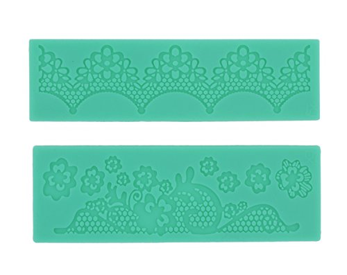 SMYLLS Cake Decoration Tool Flower Embossing Lace Fondant Mould Cupcake Mat (2, Green )