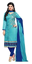 Women Icon Presents Embroidered Chanderi Dress Material(Sky Blue,Dark Blue)
