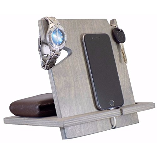 Christmas Gift For Him, Wooden iPhone/Android Docking Station, 5th Anniversary Gifts Wood, Birthday Gifts For Men, Universal Cell Phone Stand (Classic Gray-non personalized)