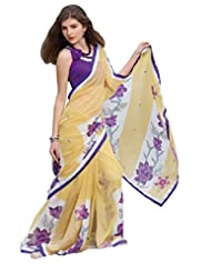 Anvi Creations Printed Lacer Light Yellow Georgette Saree (Light Yellow_Free Size)