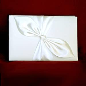 New Ivory Bridal Wedding Reception Guest Book with Ivory Satin Bow