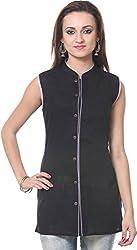 Vedanta Women's Regular Fit Cotton Kurta (KICCSLPLN41M-BLACK-XL, BLACK, X-Large)