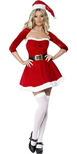 Ponce Santa Costume Mrs. Claus Miss. Christmas Xmas Red Dress (Mr And Mrs Claus Costume)