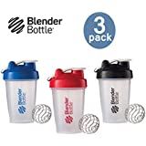 Blender Bottle with Shaker Ball 20 Oz, Pack of 3 (Blue, Red, Black)