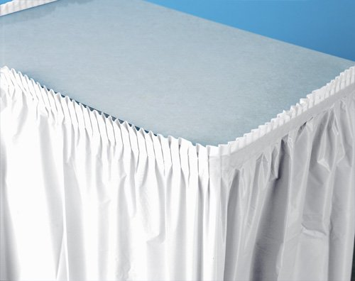 Plastic Table Skirts - 13 Colors Color: White