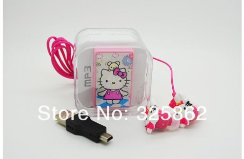 Hello Kitty Style Mini Mp3 Player Music Player Clip Mp3 Player + Earphones Pink Color In A Box