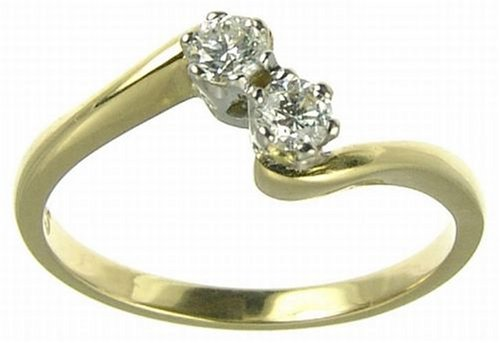 18ct Yellow Gold Ladies' 2-Stone 1/4 Carat Diamond Twist Ring Size J