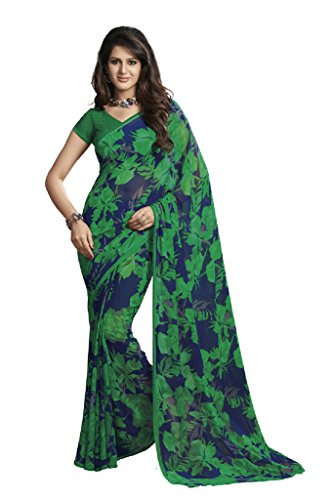 ISHIN Georgette Blue & Green Saree
