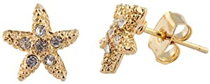 JOTW 2 Pairs of Goldtone with Clear Iced Out Small Starfish Stud Earrings