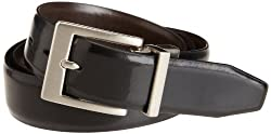 Haggar Men's Lizard Emboss Feather Edge Strap And Harness Buckle, Black, 38