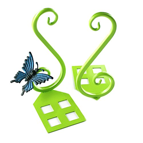 MOEUP 2 x Craft Creative Vintage Metal Bookends with 1 x Decorative Butterfly 85 * 75 * 175mm (Green)